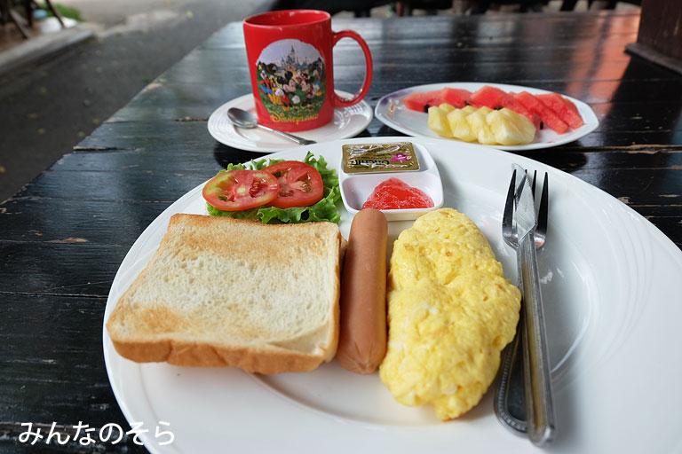 【8食目】宿泊先で朝ご飯@タイ/カンチャナブリー
