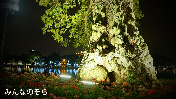 亀の塔@夜のホアンキエム湖(ハノイ@ベトナム)