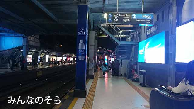 「SUDIRMAN」からKereta Komuter(コミューター)のLoop Lineに乗ってManggarai(マンガライ駅)へ