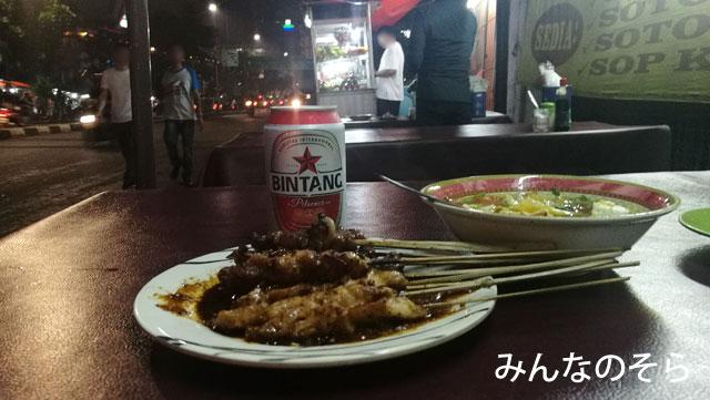 Jaya Agungでサテを、ビール持込みでいただきました
