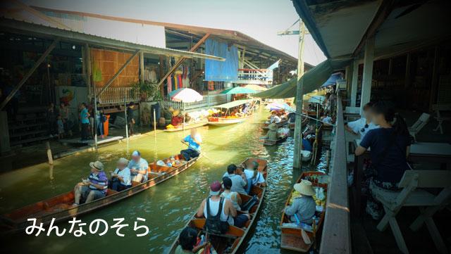 ダムヌンサドゥアック水上マーケットを手漕きボートで探索