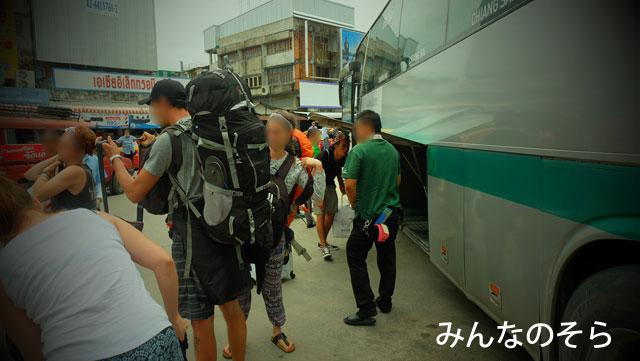 チェンライのバスターミナルに到着